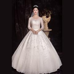 七分袖显瘦新娘结婚当天嫁衣齐地婚纱绑带1010260096 图片色 均码