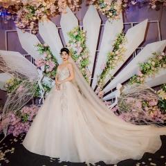 抹胸款唯美修身新娘结婚当天嫁衣拖尾婚纱绑带1010260024 图片色 均码
