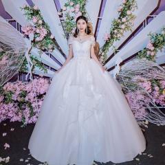 包肩唯美修身新娘结婚当天嫁衣拖尾婚纱绑带1010260032 图片色 均码