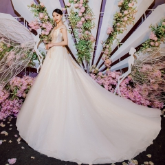 一字肩唯美修身新娘结婚当天嫁衣拖尾婚纱绑带1010260034 图片色 均码