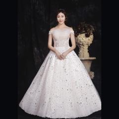一字肩香槟色新娘结婚当天嫁衣齐地婚纱绑带款1010850021 图片色 均码