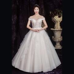 显瘦一字肩新娘结婚当天嫁衣齐地婚纱绑带款1010850022 图片色 均码