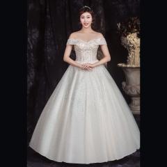 香槟色一字肩新娘结婚当天嫁衣齐地婚纱绑带款1010850024 图片色 均码