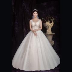 香槟色双肩新娘结婚当天嫁衣齐地婚纱绑带款1010850026 图片色 均码