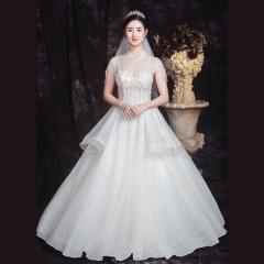 唯美包肩新娘结婚当天嫁衣齐地婚纱绑带款1010850029 图片色 均码