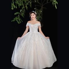 香槟色唯美新娘结婚当天嫁衣齐地婚纱绑带款1010820010 图片色 均码