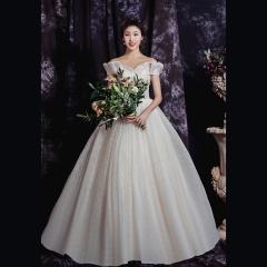 香槟色一字肩唯美新娘结婚当天嫁衣齐地婚纱1010820049 图片色 均码