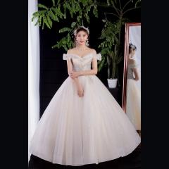 一字肩香槟色唯美新娘结婚当天嫁衣齐地婚纱1010820054 图片色 均码