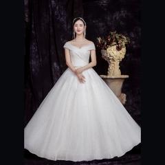 新款一字肩唯美新娘结婚当天嫁衣齐地婚纱1010820058 图片色 均码