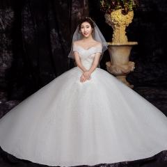 一字肩新款唯美新娘结婚当天嫁衣齐地婚纱1010820059 图片色 均码