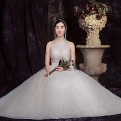 挂脖新款唯美新娘结婚当天嫁衣齐地婚纱1010820068 图片色 均码