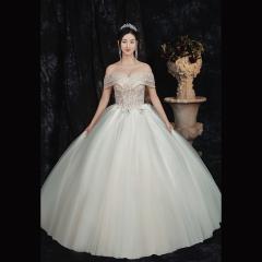 一字肩香槟色新娘结婚当天嫁衣齐地婚纱1010820069 图片色 均码