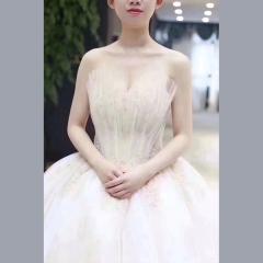 显瘦唯美影楼拍照礼服馆热销款齐地婚纱W1011390220-3 图片色 均码