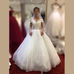 显瘦唯美影楼拍照礼服馆热销款齐地婚纱W1011390220-6 图片色 均码
