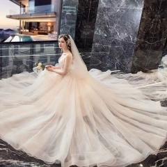 唯美显瘦影楼拍照礼服馆热销款拖尾婚纱W1030860226-5 原图 均码
