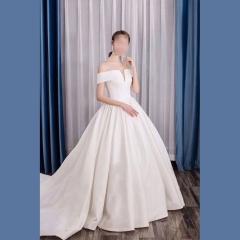 唯美显瘦影楼拍照礼服馆热销款拖尾婚纱W1030560226-12 图片色 均码