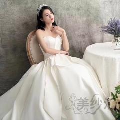 网红款婚纱新娘结婚当天嫁衣拖尾婚纱绑带款103018110609 图片色 均码