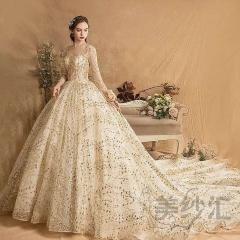 金色新娘结婚当天嫁衣拖尾婚纱绑带款七分袖1030180212 图片色 均码