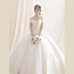 新款新娘结婚当天嫁衣拖尾婚纱绑带款W103056032101 图片色 均码