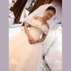 一字肩新娘结婚嫁衣齐地婚纱绑带款W101082032902 图片色 均码