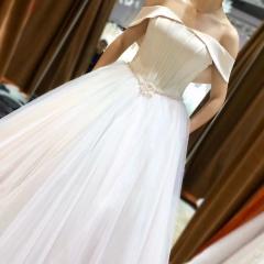 新娘结婚嫁衣一字肩齐地婚纱绑带款W101082032903 图片色 均码