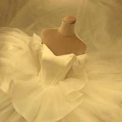 影楼工作室礼服馆一字肩新娘结婚齐地婚纱W101082050317 图片色 均码