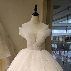 贝壳款高端婚纱新娘结婚齐地婚纱绑带款W101082050426 图片色 均码