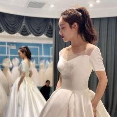 短袖款高端婚纱新娘结婚拖尾婚纱绑带款W103082050427 图片色 均码