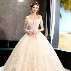 一字肩高端婚纱新娘结婚拖尾婚纱绑带款W103082050428 图片色 均码