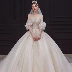 一字肩中袖高端款新娘结婚拖尾婚纱绑带款W103082050429 图片色 均码