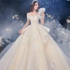 可拆卸钢圈高端款新娘结婚拖尾婚纱绑带款W103082050430 图片色 均码