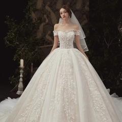 一字肩高端新娘结婚拖尾婚纱绑带款W103082050432 图片色 均码