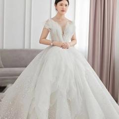 贝壳款高端新娘结婚拖尾婚纱绑带款W103082051407 图片色 均码