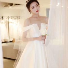 一字肩1.5米拖尾高端新娘结婚拖尾婚纱绑带款W103082051408 图片色 均码