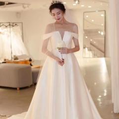 一字肩1.5米拖尾高端新娘结婚拖尾婚纱绑带款W103076051408 图片色 均码