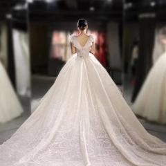 性感深V美背包肩款落地1.5米拖尾婚纱W1030820620-7 图片色 均码