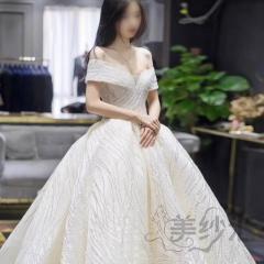 一字肩手工花纹图案新娘结婚嫁衣1.5米拖尾婚纱绑带款103106776 商品色 均码
