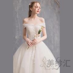一字肩花纹图案新娘结婚当天嫁衣一米拖尾婚纱绑带款10310603171 商品色 均码