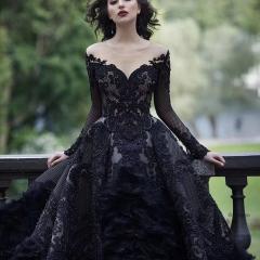 显瘦唯美长袖新款新娘结婚当天嫁衣黑色款拖尾婚纱10310803302 黑色 均码