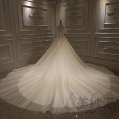 短袖版唯美新娘结婚当天嫁衣拖尾婚纱拍照款婚纱10310804201 商品色 均码