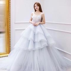 双肩版新娘结婚当天嫁衣拖尾婚纱绑带款影楼拍照款10310806151 商品色 均码