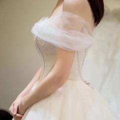 一字肩新娘结婚当天嫁衣拖尾婚纱绑带影楼拍照款10310806156 商品色 均码