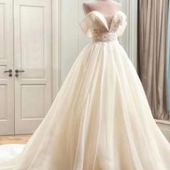 一字肩新娘结婚当天嫁衣拖尾婚纱绑带影楼拍照款10310806157 商品色 均码