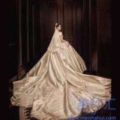 一字肩新款新娘结婚当天嫁衣拖尾婚纱绑带款103123052702 商品色 均码