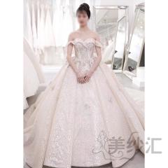 一字肩花纹图案新娘结婚当天嫁衣拖尾婚纱绑带款10312504096 商品色 均码