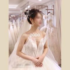 唯美显瘦影楼拍照礼服馆热销款拖尾婚纱W1031700225-10 图片色 均码