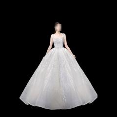 唯美显瘦影楼拍照礼服馆热销款拖尾婚纱W1031700225-12 图片色 均码