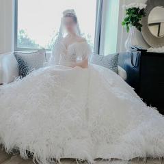 唯美显瘦影楼拍照礼服馆热销款拖尾婚纱W1031700225-13 图片色 均码