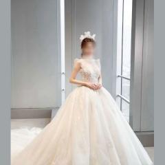 唯美显瘦影楼拍照礼服馆奢华款拖尾婚纱W1031560303-10 图片色 均码
