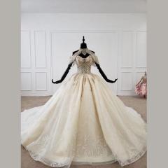 唯美显瘦影楼拍照礼服馆经典款拖尾婚纱W1031560304-3 图片色 均码